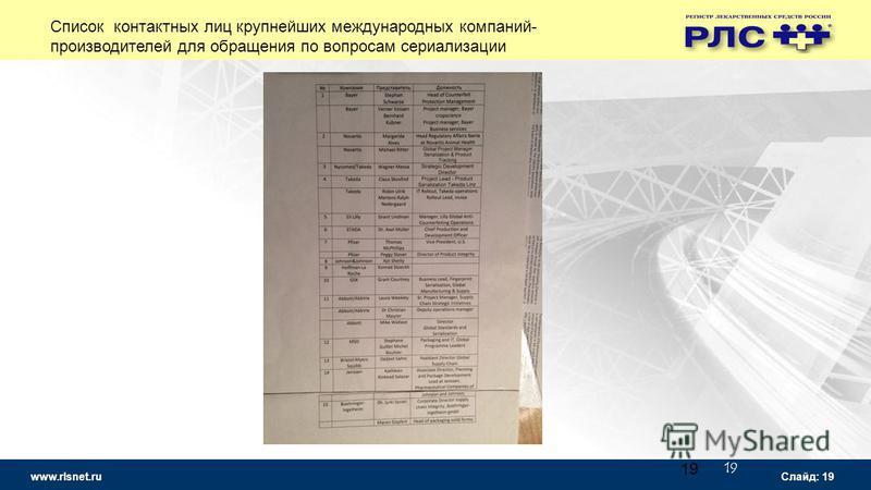 www.rlsnet.ru Слайд: 19 19 Список контактных лиц крупнейших международных компаний- производителей для обращения по вопросам сериализации
