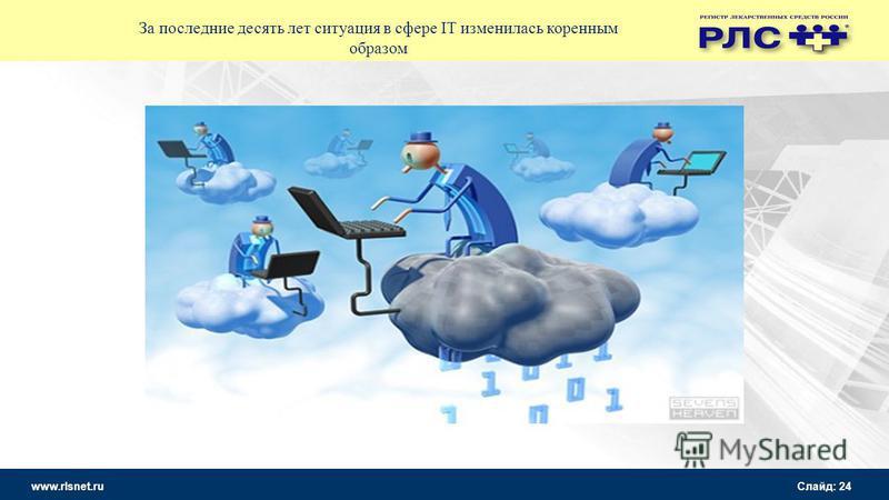 www.rlsnet.ru Слайд: 24 За последние десять лет ситуация в сфере IT изменилась коренным образом