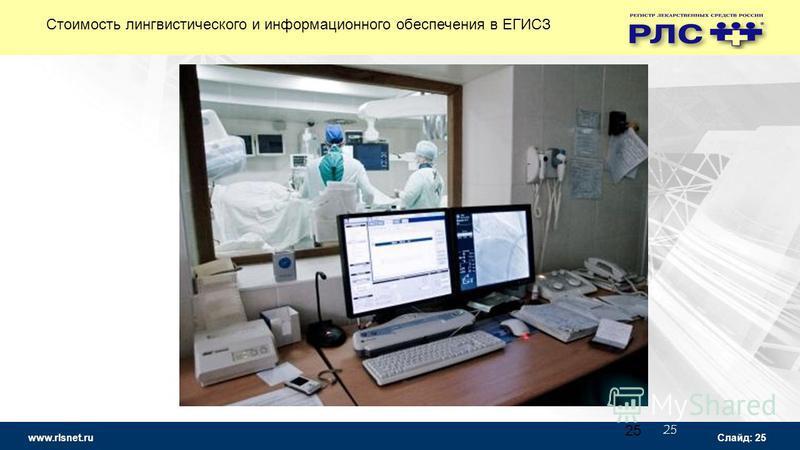www.rlsnet.ru Слайд: 25 25 Стоимость лингвистического и информационного обеспечения в ЕГИСЗ