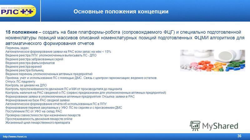 http://www.rlsnet.ru 36 Основные положения концепции 15 положение – создать на базе платформы-робота (сопровождаемого ФЦГ) и специально подготовленной номенклатуры позиций массивов описаний номенклатурных позиций подготовленных ФЦМИ алгоритмов для ав