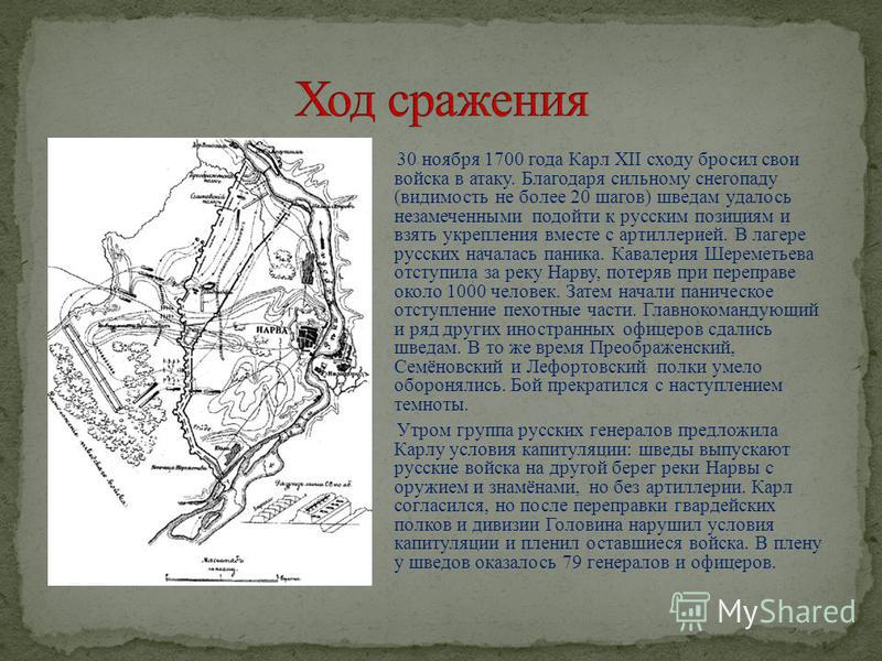 30 ноября 1700 года Карл XII сходу бросил свои войска в атаку. Благодаря сильному снегопаду (видимость не более 20 шагов) шведам удалось незамеченными подойти к русским позициям и взять укрепления вместе с артиллерией. В лагере русских началась паник