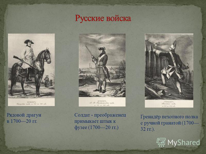 Рядовой драгун в 170020 гг. Солдат - преображенец примыкает штык к фузее (170020 гг.) Гренадёр пехотного полка с ручной гранатой (1700 32 гг.).