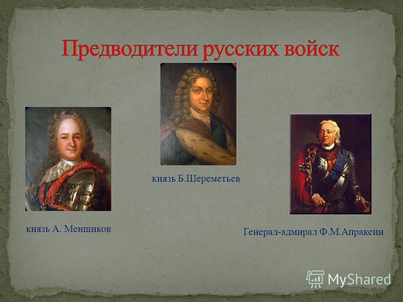 князь А. Меншиков князь Б.Шереметьев Генерал-адмирал Ф.М.Апраксин