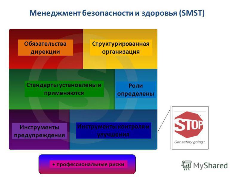 3 Менеджмент безопасности и здоровья (SMST) + les risques maîtrisés Обязательства дирекции + профессиональные риски Инструменты контроля и улучшения Инструменты предупреждения Стандарты установлены и применяются Роли определены Структурированная орга
