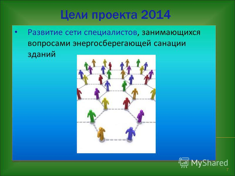 7 Развитие сети специалистов, занимающихся вопросами энергосберегающей санации зданий Цели проекта 2014