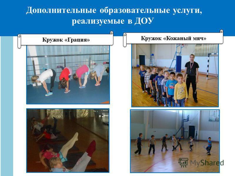 Дополнительные образовательные услуги, реализуемые в ДОУ Кружок «Грация» Кружок «Кожаный мяч»