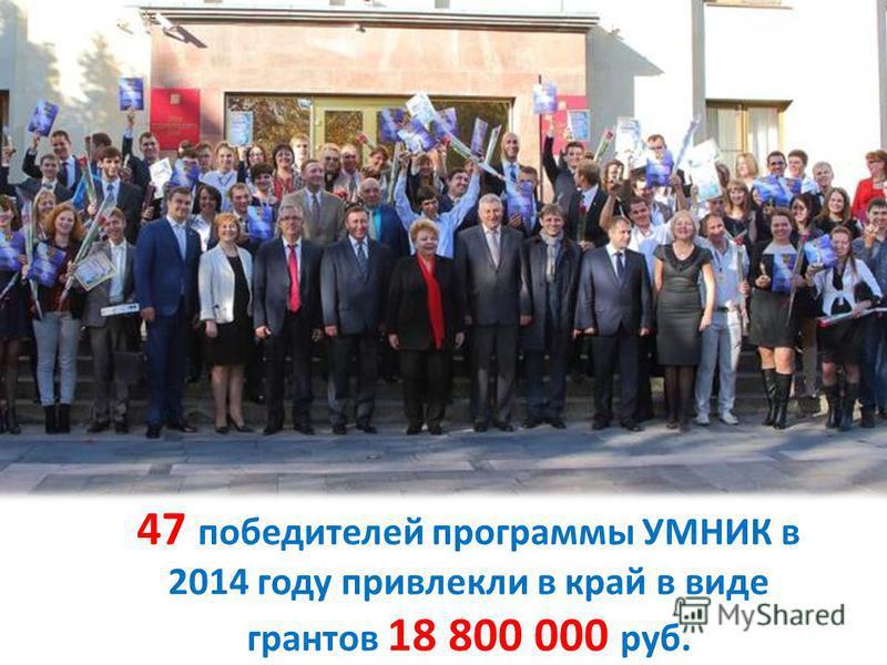 47 победителей программы УМНИК в 2014 году привлекли в край в виде грантов 18 800 000 руб.