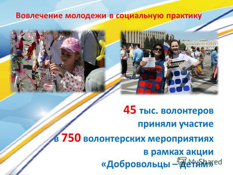 45 тыс. волонтеров приняли участие в 750 волонтерских мероприятиях в рамках акции «Добровольцы – детям» Вовлечение молодежи в социальную практику