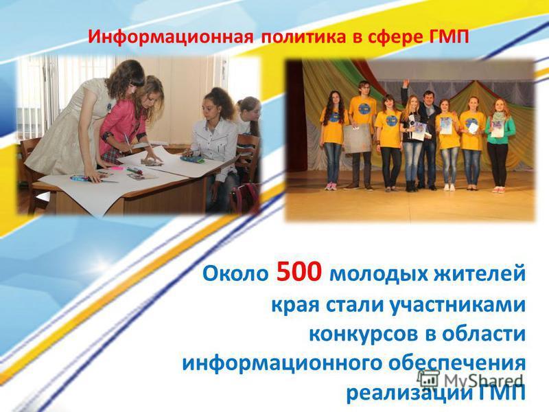 Около 500 молодых жителей края стали участниками конкурсов в области информационного обеспечения реализации ГМП Информационная политика в сфере ГМП