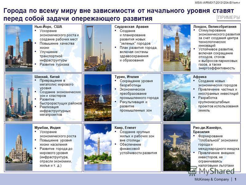 McKinsey & Company | MSW-WRM017-20131204-EI1wm-r 1111 Города по всему миру вне зависимости от начального уровня ставят перед собой задачи опережающего развития Лондон, Великобритания Стимулирование экономического развития за счет создания центра техн