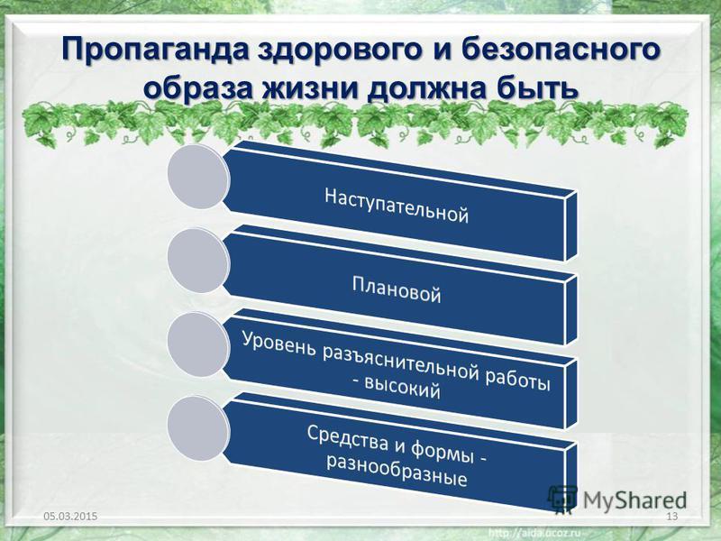 Пропаганда здорового и безопасного образа жизни должна быть 05.03.201513