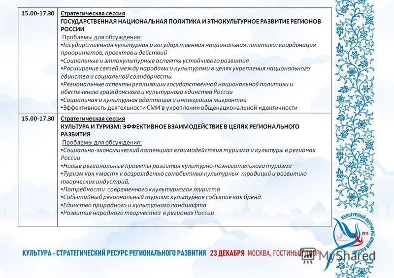 15.00-17.30Стратегическая сессия ГОСУДАРСТВЕННАЯ НАЦИОНАЛЬНАЯ ПОЛИТИКА И ЭТНОКУЛЬТУРНОЕ РАЗВИТИЕ РЕГИОНОВ РОССИИ Проблемы для обсуждения: Государственная культурная и государственная национальная политика: координация приоритетов, проектов и действий