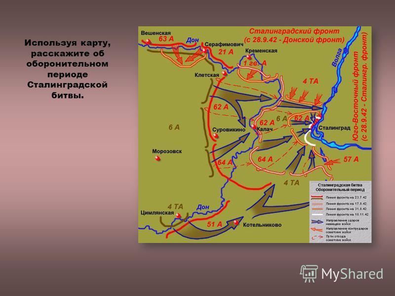 Используя карту, расскажите об оборонительном периоде Сталинградской битвы.