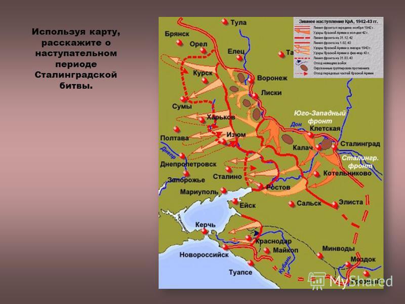Используя карту, расскажите о наступательном периоде Сталинградской битвы.