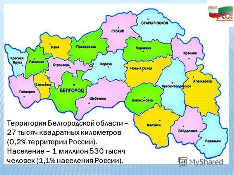 Территория Белгородской области – 27 тысяч квадратных километров (0,2% территории России). Население – 1 миллион 530 тысяч человек (1,1% населения России).