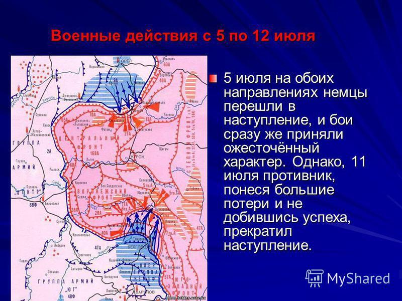 5 июля на обоих направлениях немцы перешли в наступление, и бои сразу же приняли ожесточённый характер. Однако, 11 июля противник, понеся большие потери и не добившись успеха, прекратил наступление. Военные действия с 5 по 12 июля