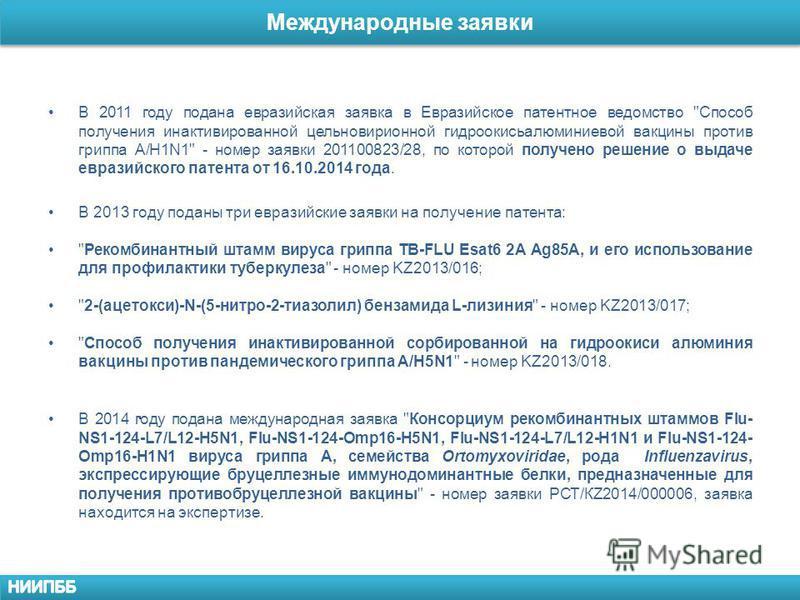 Международные заявки. В 2011 году подана евразийская заявка в Евразийское патентное ведомство
