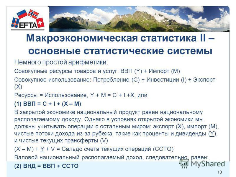 Немного простой арифметики: Совокупные ресурсы товаров и услуг: ВВП (Y) + Импорт (M) Совокупное использование: Потребление (C) + Инвестиции (I) + Экспорт (X) Ресурсы = Использование, Y + M = C + I +X, или (1) ВВП = C + I + (X – M) В закрытой экономик