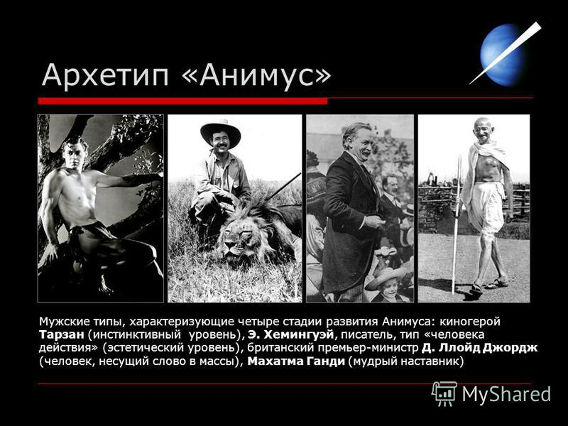 Архетип «Анимус» Мужские типы, характеризующие четыре стадии развития Анимуса: киногерой Тарзан (инстинктивный уровень), Э. Хемингуэй, писатель, тип «человека действия» (эстетический уровень), британский премьер-министр Д. Ллойд Джордж (человек, несу