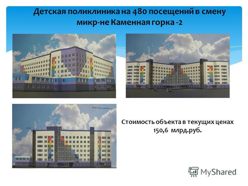 Детская поликлиника на 480 посещений в смену микр-не Каменная горка -2 Стоимость объекта в текущих ценах 150,6 млрд.руб.