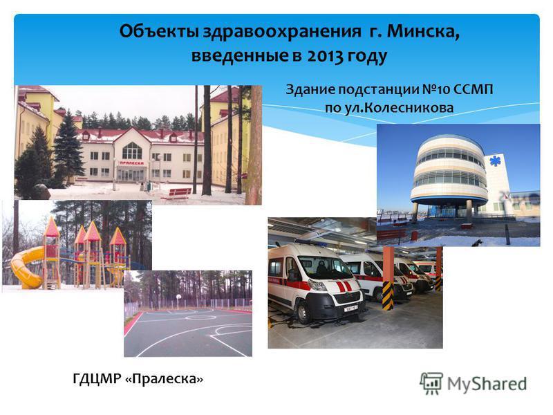 Объекты здравоохранения г. Минска, введенные в 2013 году Здание подстанции 10 ССМП по ул.Колесникова ГДЦМР «Пралеска»