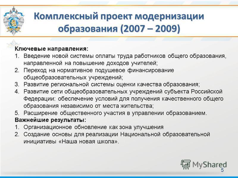 Комплексный проект модернизации образования (2007 – 2009) 5 Ключевые направления: 1. Введение новой системы оплаты труда работников общего образования, направленной на повышение доходов учителей; 2. Переход на нормативное подушевое финансирование общ
