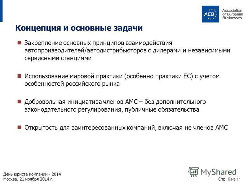 Концепция и основные задачи Закрепление основных принципов взаимодействия автопроизводителей/авто дистрибьюторов с дилерами и независимыми сервисными станциями Использование мировой практики (особенно практики ЕС) с учетом особенностей российского ры