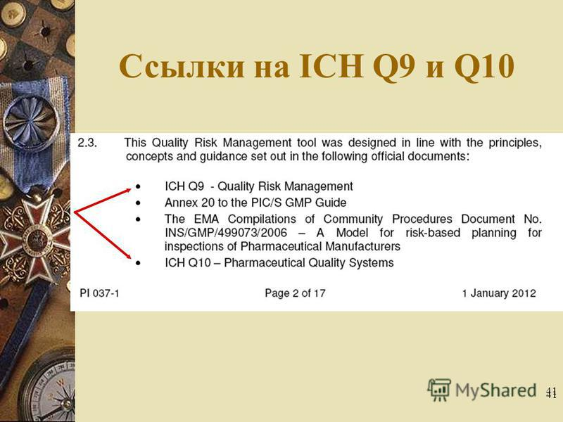 41 Ссылки на ICH Q9 и Q10