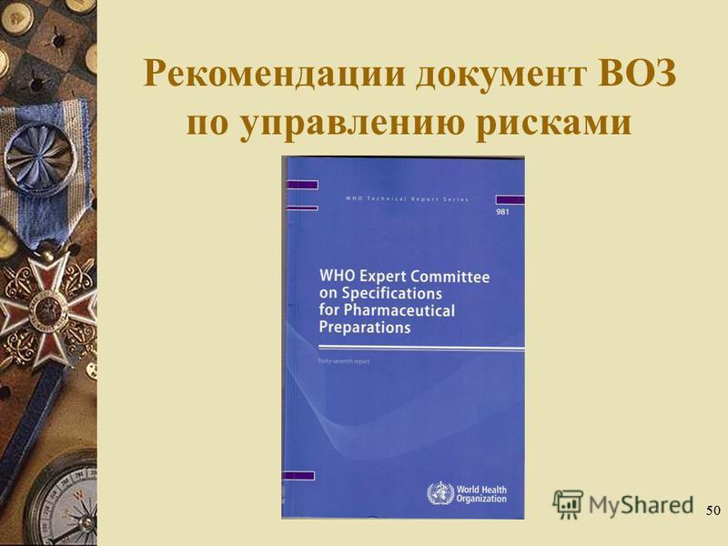 50 Рекомендации документ ВОЗ по управлению рисками качества