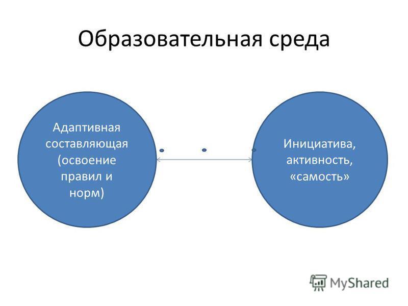 Образовательная среда Адаптивная составляющая (освоение правил и норм) Инициатива, активность, «самость»