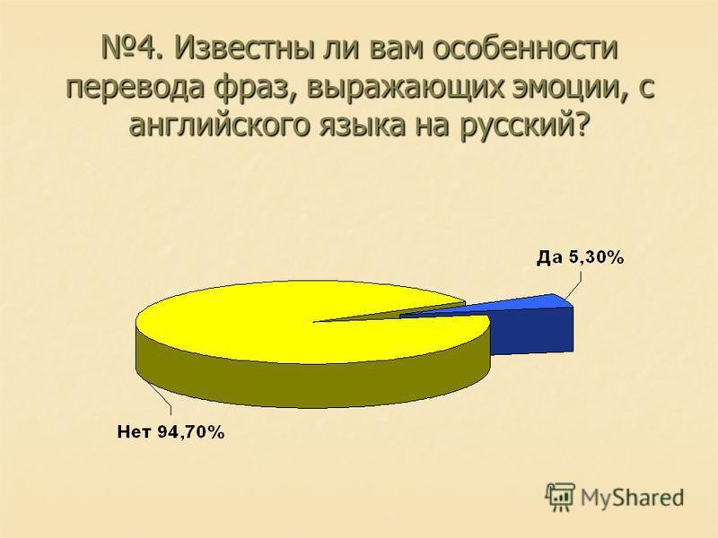 4. Известны ли вам особенности перевода фраз, выражающих эмоции, с английского языка на русский?