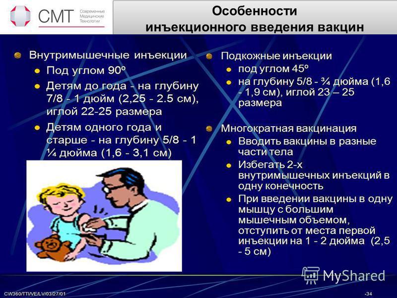 Особенности инъекционного введения вакцин Вакцинацию можно проводить следующими способами: - орально - дозу вакцины закапывают в рот. - интраназальное - препараты впрыскивают в носовые ходы. - накожно (скарификационная вакцинация) - вакцины наносят н