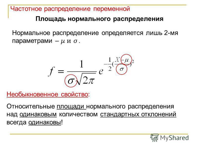 Частотное распределение переменной Площадь нормального распределения Нормальное распределение определяется лишь 2-мя параметрами – μ и σ. Необыкновенное свойство: Относительные площади нормального распределения над одинаковым количеством стандартных