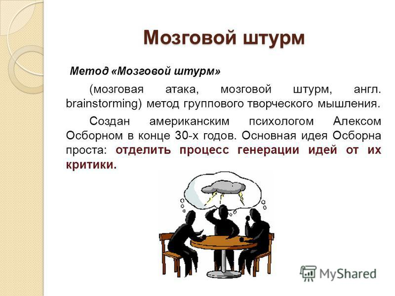 Мозговой штурм Метод «Мозговой штурм» (мозговая атака, мозговой штурм, англ. brainstorming) метод группового творческого мышления. Создан американским психологом Алексом Осборном в конце 30-х годов. Основная идея Осборна проста: отделить процесс гене
