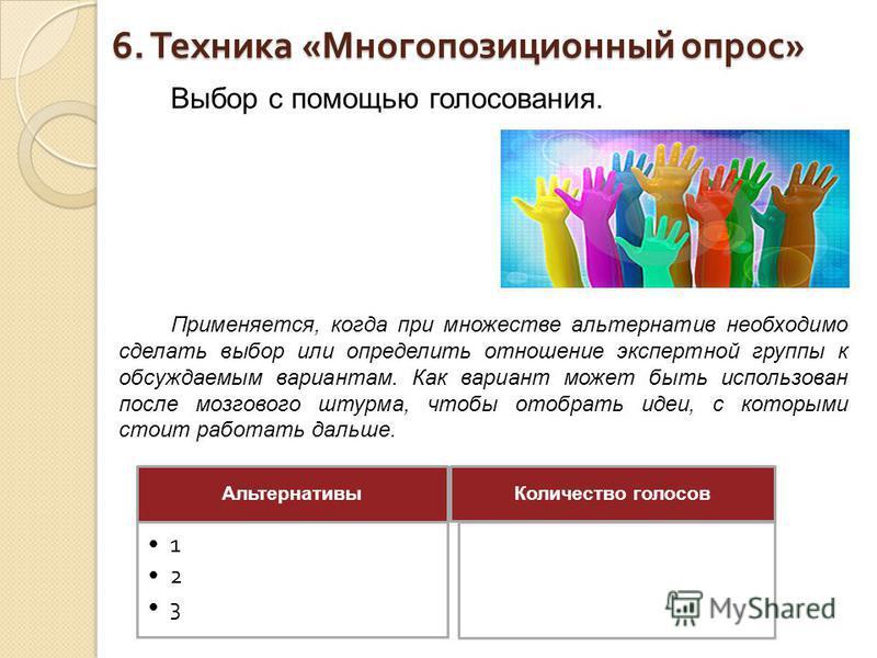 6. Техника « Многопозиционный опрос » Выбор с помощью голосования. Применяется, когда при множестве альтернатив необходимо сделать выбор или определить отношение экспертной группы к обсуждаемым вариантам. Как вариант может быть использован после мозг