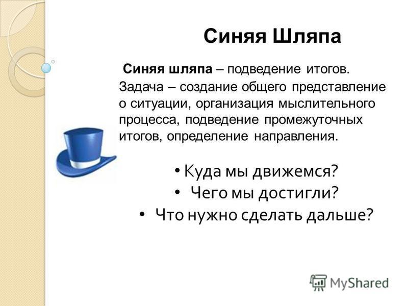 Синяя Шляпа Синяя шляпа – подведение итогов. Задача – создание общего представление о ситуации, организация мыслительного процесса, подведение промежуточных итогов, определение направления. Куда мы движемся ? Чего мы достигли ? Что нужно сделать даль