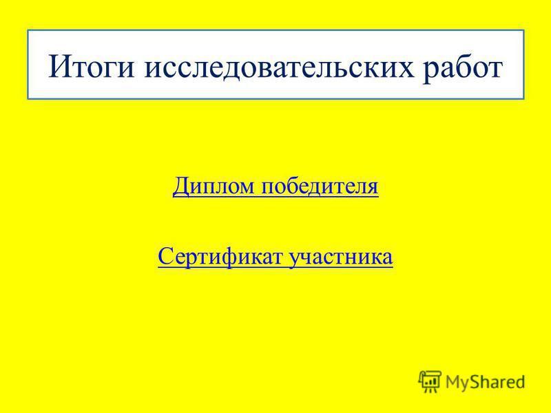 Итоги исследовательских работ Диплом победителя Сертификат участника