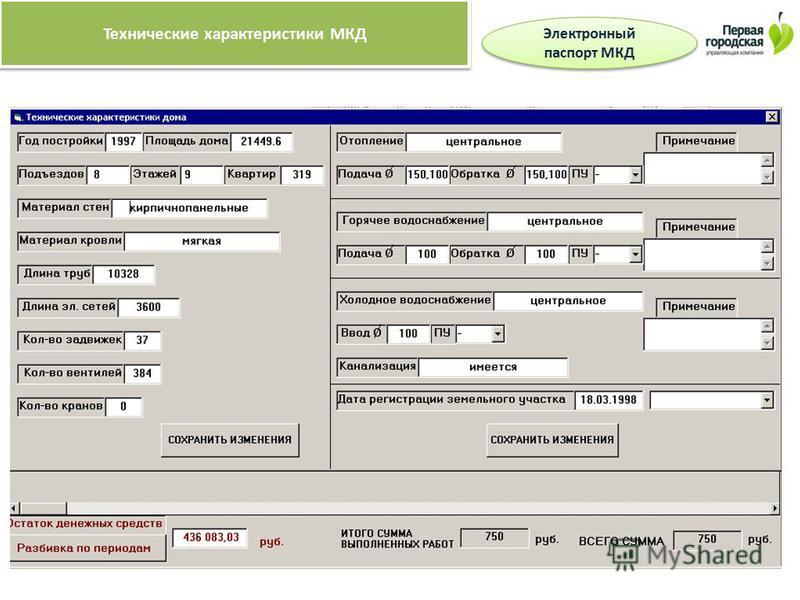 Технические характеристики МКД Электронный паспорт МКД Электронный паспорт МКД