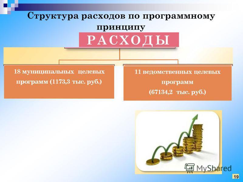 Структура расходов по программному принципу РАСХОДЫ 18 муниципальных целевых программ (1173,3 тыс. руб.) 11 ведомственных целевых программ (67134,2 тыс. руб.) 19