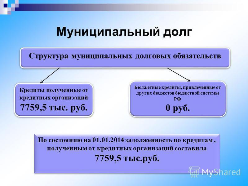 Муниципальный долг Структура муниципальных долговых обязательств Кредиты полученные от кредитных организаций 7759,5 тыс. руб. Кредиты полученные от кредитных организаций 7759,5 тыс. руб. Бюджетные кредиты, привлеченные от других бюджетов бюджетной си