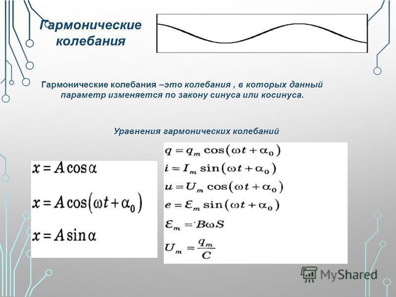 Гармонические колебания Гармонические колебания –это колебания, в которых данный параметр изменяется по закону синуса или косинуса. Уравнения гармонических колебаний