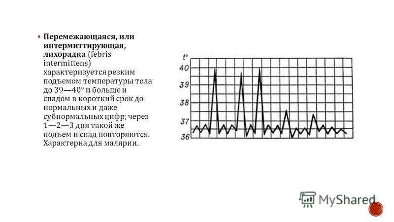 Перемежающаяся, или интермиттирующая, лихорадка (febris intermittens) характеризуется резким подъемом температуры тела до 3940° и больше и спадом в короткий срок до нормальных и даже субнормальных цифр ; через 123 дня такой же подъем и спад повторяют