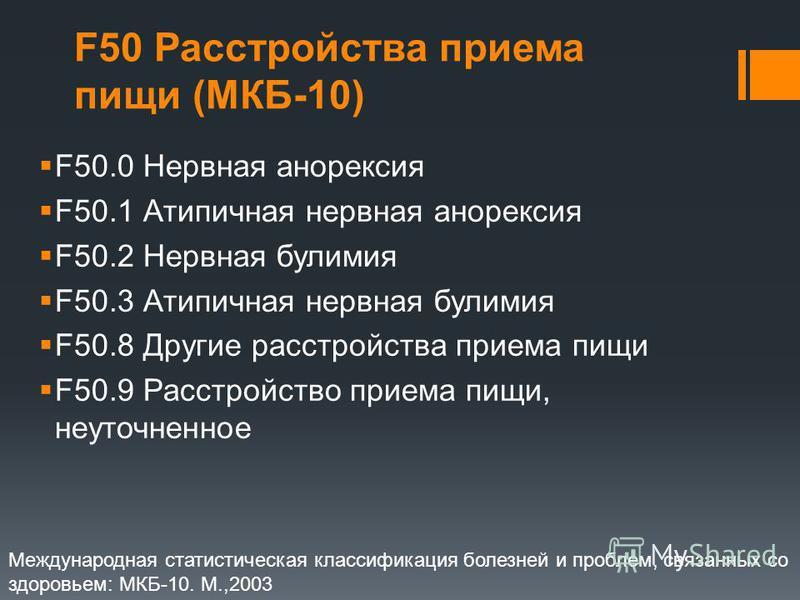 F50 Расстройства приема пищи (МКБ-10) F50.0 Нервная анорексия F50.1 Атипичная нервная анорексия F50.2 Нервная булимия F50.3 Атипичная нервная булимия F50.8 Другие расстройства приема пищи F50.9 Расстройство приема пищи, неуточненное Международная ста