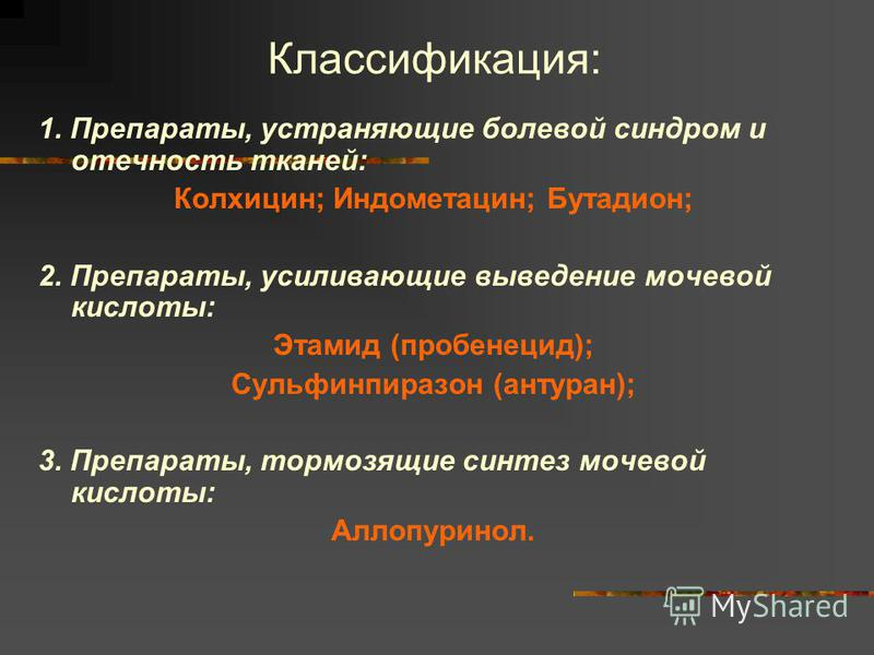 Классификация: 1. Препараты, устраняющие болевой синдром и отечность тканей: Колхицин; Индометацин; Бутадион; 2. Препараты, усиливающие выведение мочевой кислоты: Этамид (пробенецид); Сульфинпиразон (антуран); 3. Препараты, тормозящие синтез мочевой