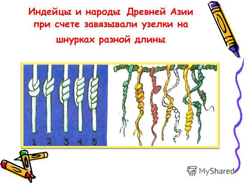 Индейцы и народы Древней Азии при счете завязывали узелки на шнурках разной длины