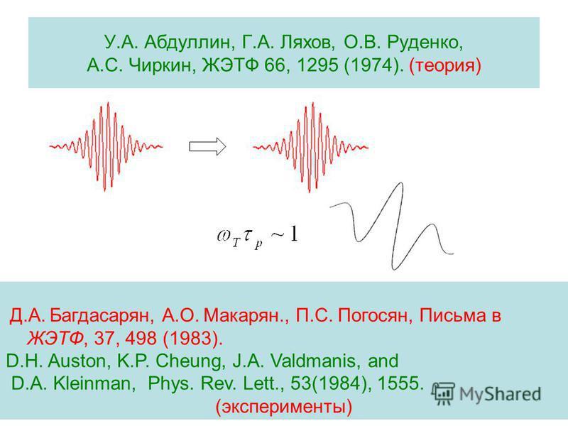 У.А. Абдуллин, Г.А. Ляхов, О.В. Руденко, А.С. Чиркин, ЖЭТФ 66, 1295 (1974). (теория) Д.А. Багдасарян, А.О. Макарян., П.С. Погосян, Письма в ЖЭТФ, 37, 498 (1983). D.H. Auston, K.P. Cheung, J.A. Valdmanis, and D.A. Kleinman, Phys. Rev. Lett., 53(1984),