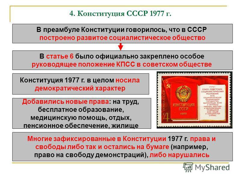 4. Конституция СССР 1977 г. В преамбуле Конституции говорилось, что в СССР построено развитое социалистическое общество В статье 6 было официально закреплено особое руководящее положение КПСС в советском обществе Конституция 1977 г. в целом носила де