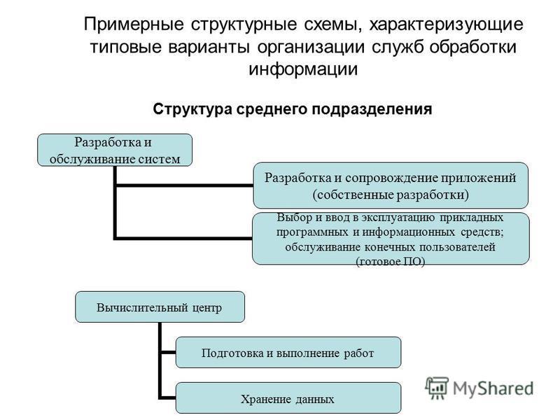 Примерные структурные схемы, характеризующие типовые варианты организации служб обработки информации Структура среднего подразделения Разработка и обслуживание систем Разработка и сопровождение приложений (собственные разработки) Выбор и ввод в экспл