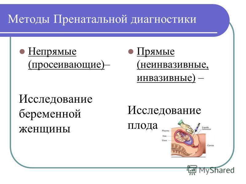 Методы Пренатальной диагностики Непрямые (просеивающие)– Исследование беременной женщины Прямые (неинвазивные, инвазивные) – Исследование плода