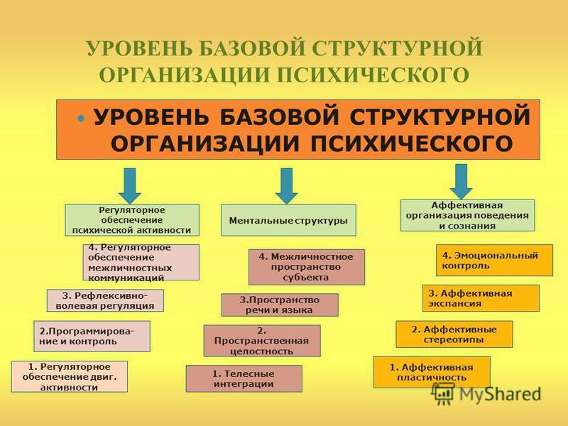 УРОВЕНЬ БАЗОВОЙ СТРУКТУРНОЙ ОРГАНИЗАЦИИ ПСИХИЧЕСКОГО Регуляторное обеспеченее психической активности Ментальные структуры Аффективная организация поведения и сознания 1. Регуляторное обеспеченее двиг. активности 2.Программирова- нее и контроль 3. Реф